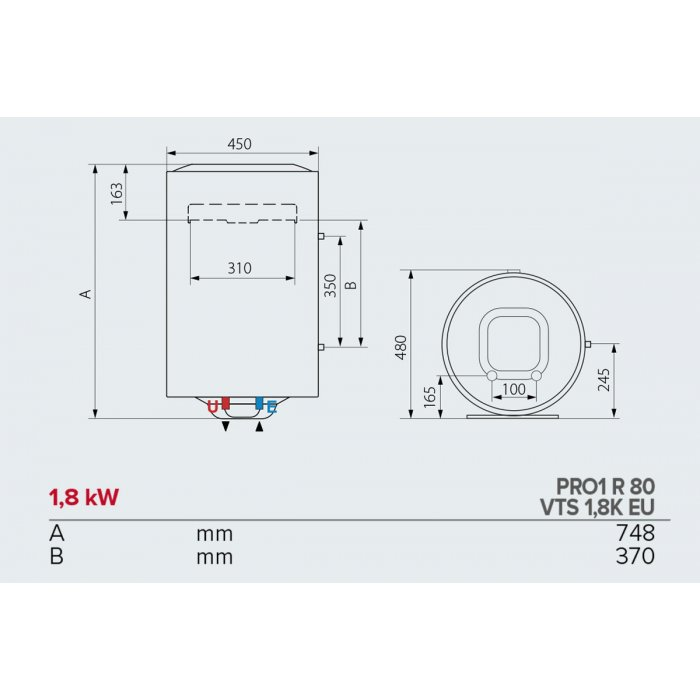 Вертикален бойлер Ariston PRO1 R 80 VTS 1,8K EU с лява серпентина